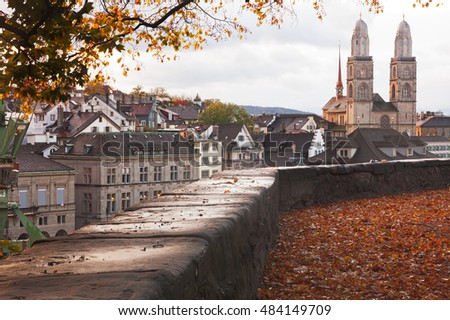 Aerial view od Grossmunster church in in Zurich; Switzerland in autumn