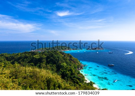 Aerial view of a beach from viewpoint of similan island, Thailand - stock photo