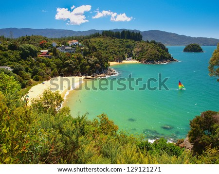 Aerial view of a Beautiful Bay with Sandy Beach near Nelson, New Zealand - stock photo