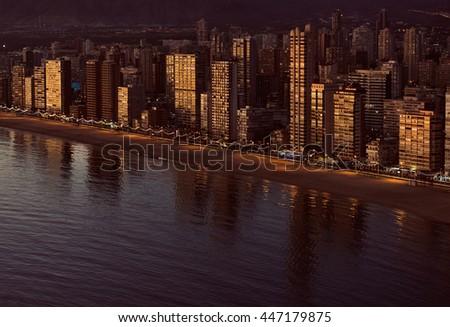 Aerial view of a Benidorm coastline. Costa Blanca, Spain. Golden hour. - stock photo