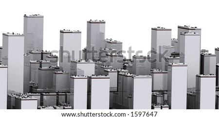 Aerial view of a big city - stock photo