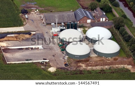 Aerial view of a biogas plant - stock photo
