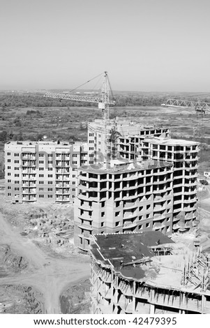 Aerial view of a building area. Black and white photo - stock photo