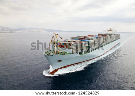 Aerial view of a Cargo vessel - stock photo