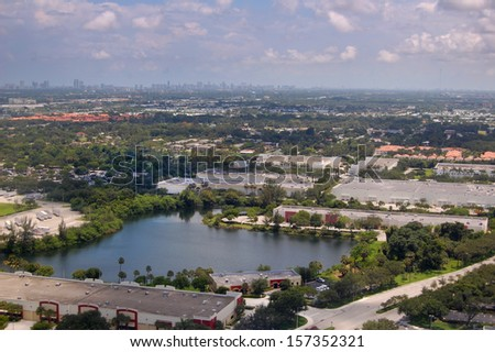 aerial view of a city seen from above - stock photo