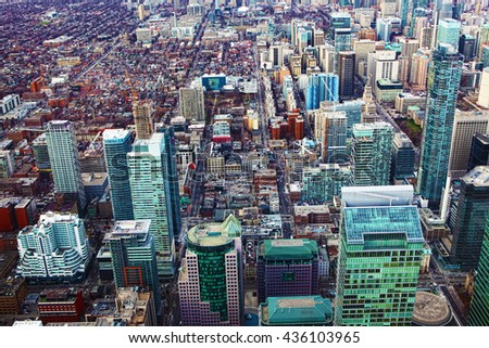 Aerial view of a cluster of Toronto office buildings  - stock photo