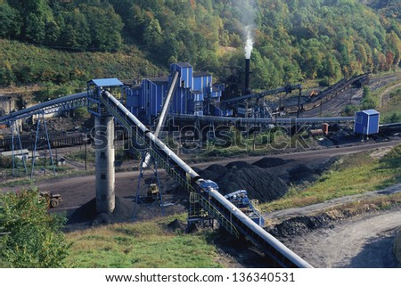 Aerial view of a coal mine in West Virginia - stock photo