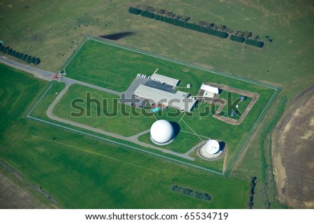 Aerial view of a communications base used by spy agenices - stock photo