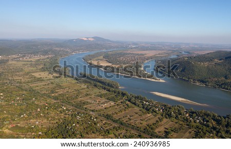 Aerial view of a danubian reef / small island and Szentendre Island - Danube, Hungary - stock photo
