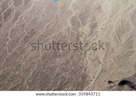 Aerial view of a desert near Nazca, Peru. - stock photo