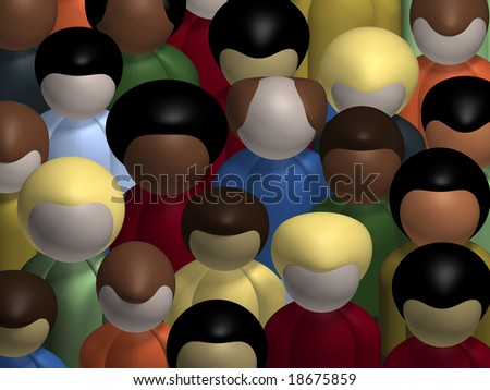 Aerial view of a diverse, multiracial crowd of people. - stock photo