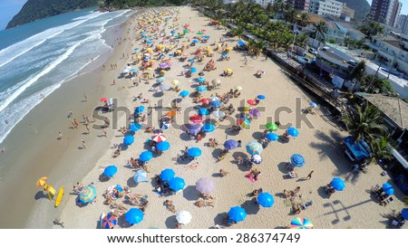 Aerial view of a famous beach in Rio de Janeiro, Brazil - stock photo