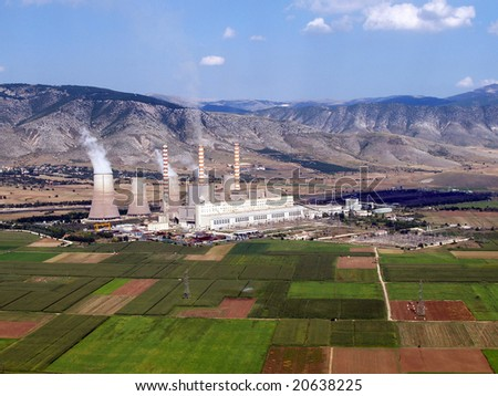Aerial view of a fossil fuel power plant - stock photo
