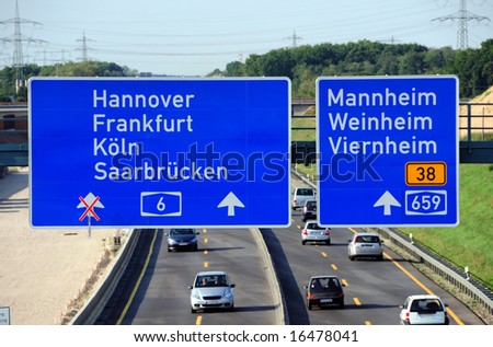 Aerial view of a German highway - stock photo