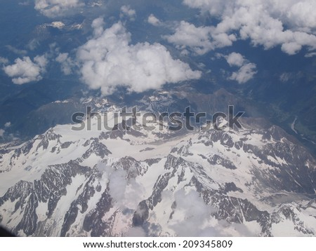 Aerial view of a glacier in Alps mountains