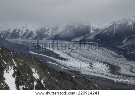 Aerial View of a Glacier in Denali National Park, Alaska - stock photo
