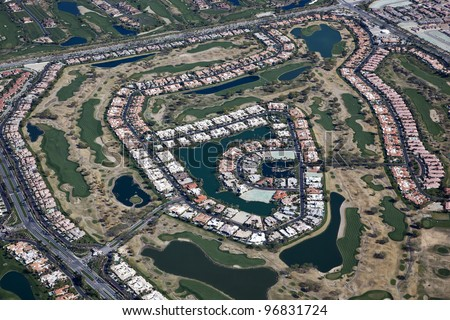 Aerial view of a golf course community in Southern California - stock photo