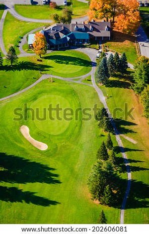 Aerial view of a golf course during autumn, Stowe, Vermont, USA