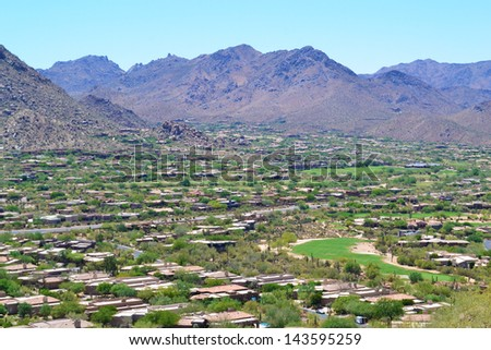 Aerial View of a Golf Course in Scottsdale, Arizona - stock photo