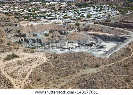 Aerial view of a gravel pit in Phoenix, Arizona - stock photo