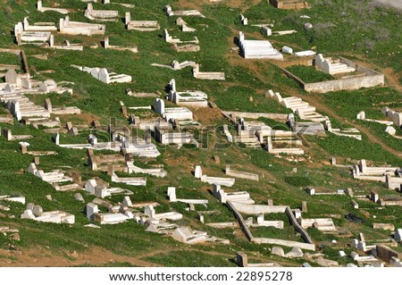Aerial view of a graveyard in Morocco