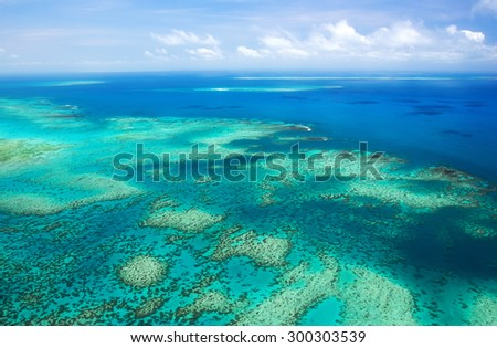 Aerial view of a great barrier reef - stock photo