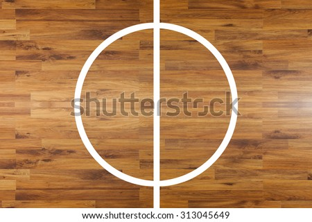 Aerial view of a hardwood basketball court - stock photo