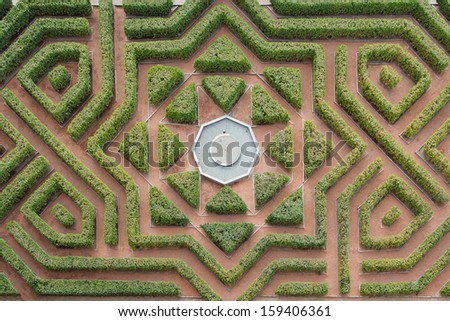 Aerial view of a hedge maze - stock photo