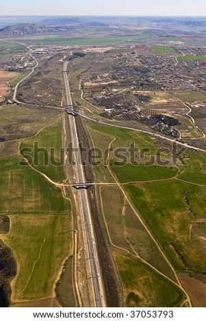 aerial view of a highway madrid to barcelona - stock photo