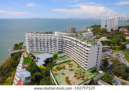 Aerial view of a hotel building and beach at pattaya, Thailand - stock photo