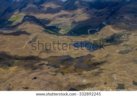 Aerial view of a landscape in National Park Cajas, Ecuador - stock photo
