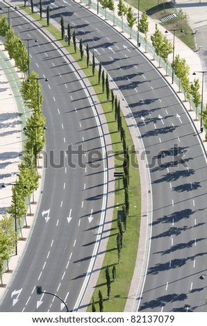 aerial view of a  main street, no cars, in the city  of Saragossa, Spain - stock photo