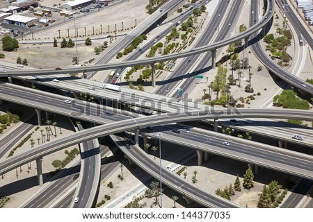 Aerial view of a major freeway interchange in the heart of Phoenix, Arizona called the stack