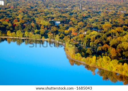 Aerial view of a Minnesota lake. - stock photo