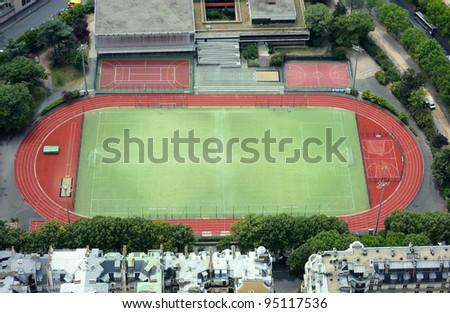 Aerial view of a modern stadium - stock photo