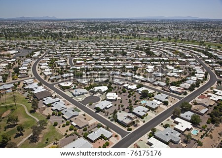 Aerial view of a neighborhood in Sun City, Arizona near the Willow Brook golf Course
