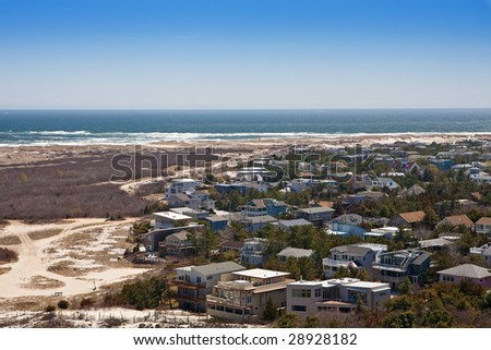 Aerial view of a New Jersey shore community - stock photo