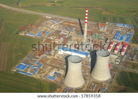 Aerial view of a power plant - stock photo