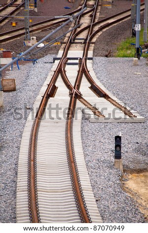 Aerial view of a railroad track - stock photo