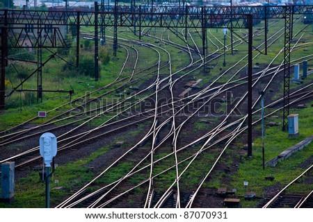 Aerial view of a railroad track junction - stock photo