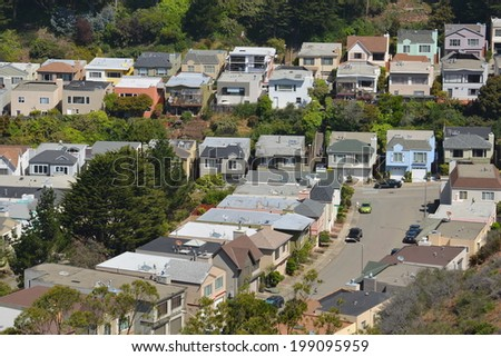 aerial view of a residential neighborhood near San Francisco - stock photo