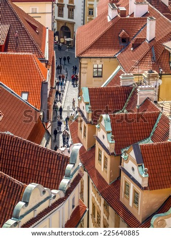 aerial view of a street in city center, prague - stock photo
