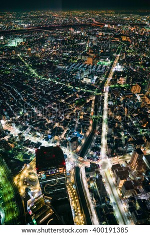 Aerial view of a Tokyo by night - stock photo