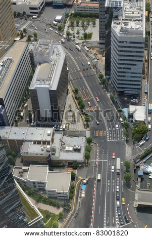 Aerial view of a Tokyo road.