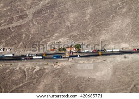 Aerial view of a toll station on Panamericana highway near Nazca, Peru