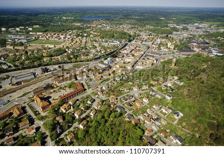 Aerial view of a town in Sweden