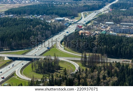 Aerial view of a transport interchange from the helicopter near Moscow, Russia - stock photo