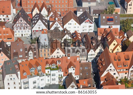 Aerial view of a typical city in Germany. - stock photo