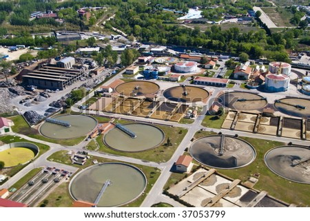 aerial view of a water purification plant - stock photo