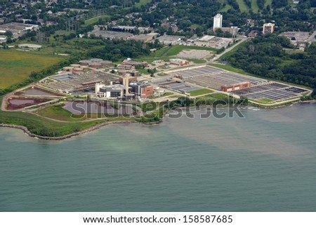 aerial view of a Water treatment plant along Lake Ontario near Toronto, Ontario Canada - stock photo